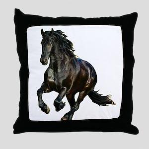 Black Stallion Horse Throw Pillow
