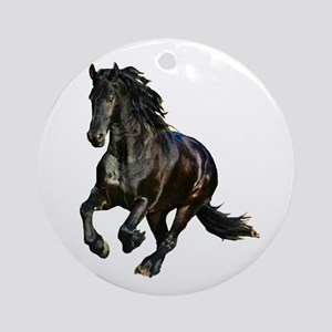 Black Stallion Horse Ornament (Round)
