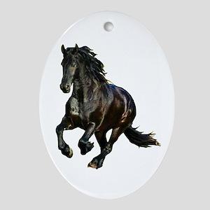 Black Stallion Horse Oval Ornament