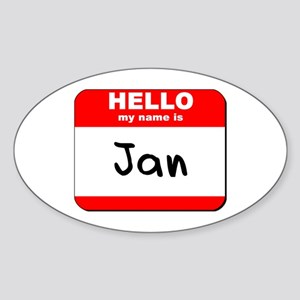 Hello my name is Jan Oval Sticker