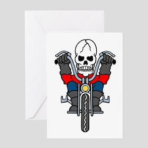 Motorcycle Biker Skull Tattoo Greeting Card