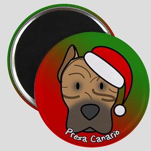 Cartoon Presa Canario Christmas Magnet