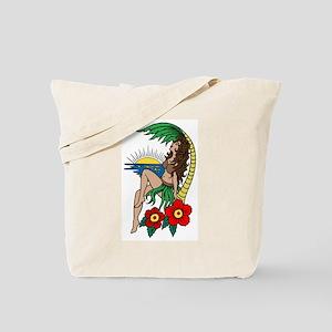 Hawaii Hula Girl Tattoo Tote Bag