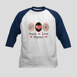 Peace Love Physics Kids Baseball Jersey