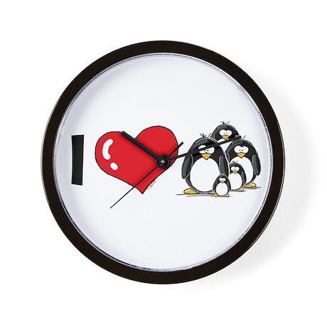 I Love Penguins Wall Clock