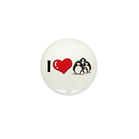I Love Penguins Mini Button (100 pack)