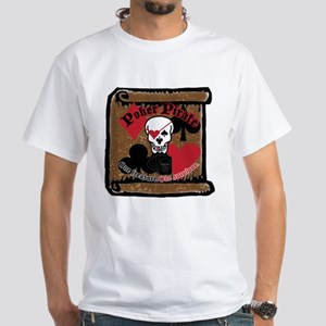 Poker Pirate Scroll White T-Shirt
