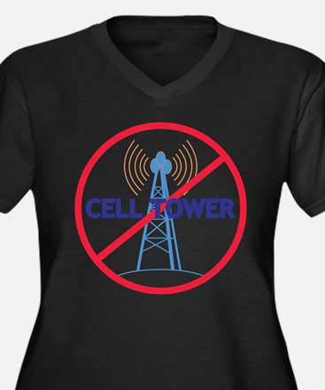 No Cell Tower Women's Plus Size V-Neck Dark T-Shir