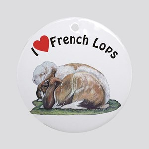 Love French Lop Rabbits Ornament (Round)