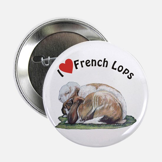 """Love French Lop Rabbits 2.25"""" Button"""