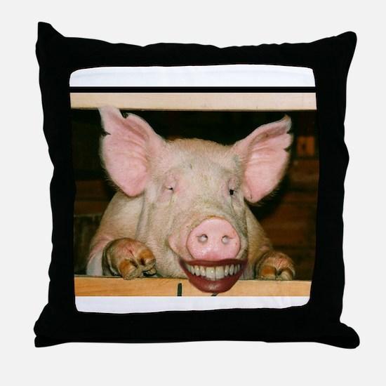 Lipstick on a Pig 2 Throw Pillow