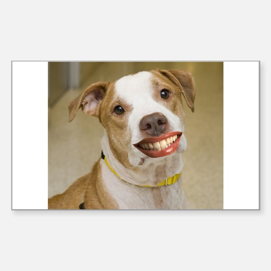 Pit Bull with Lipstick Rectangle Decal