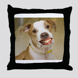 Pit Bull with Lipstick Throw Pillow