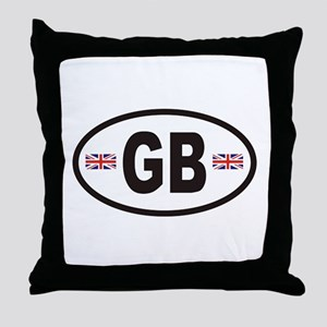 GB Great Britain Euro Style Throw Pillow