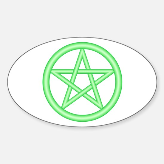 Green Pentagram Oval Decal