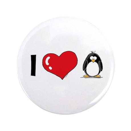 "I Love Penguins 3.5"" Button (100 pack)"