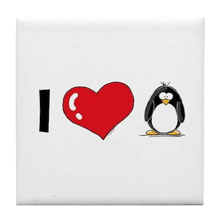 I Love Penguins Tile Coaster