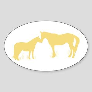 Horse Kisses Silhouette Oval Sticker