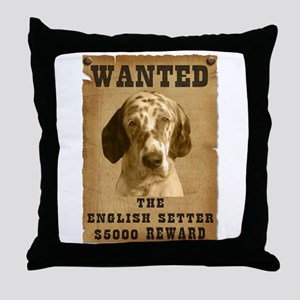 """""""Wanted"""" English Setter Throw Pillow"""