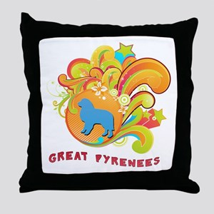 Groovy Great Pyrenees Throw Pillow