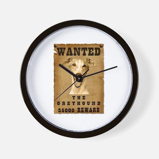 """""""Wanted"""" Greyhound Wall Clock"""