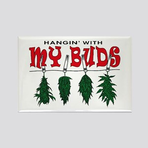 Weed Buds Hanging Rectangle Magnet