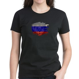 Russia Flag & African Lion Picture R T-Shirt