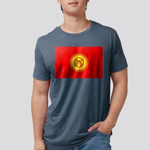 Flag of Kyrgyzstan Mens Tri-blend T-Shirt
