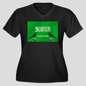 Saudi Arabia Football Flag Women's Plus Size V-Nec