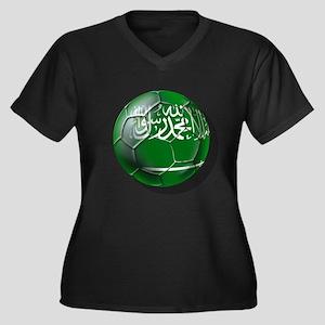 Saudi Arabia Soccer Women's Plus Size V-Neck Dark