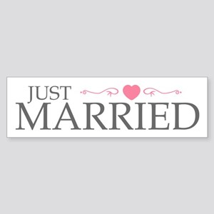 Just Married (Heart Scroll Pink) Bumper Sticker