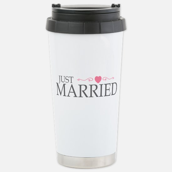 Just Married (Heart Scroll Pink) Stainless Steel T