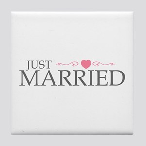 Just Married (Heart Scroll Pink) Tile Coaster