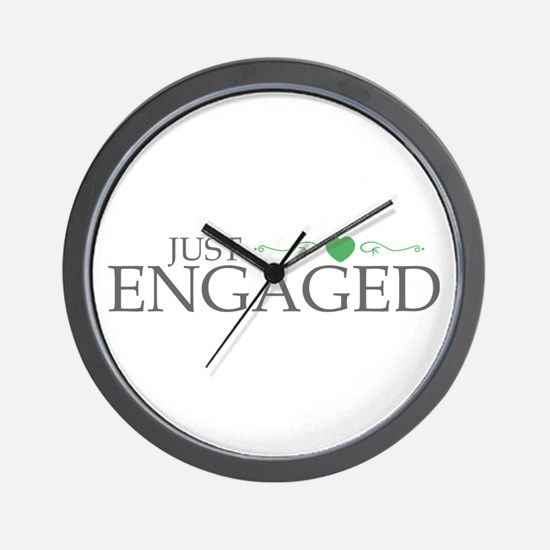 Just Engaged (Heart Scroll) Wall Clock
