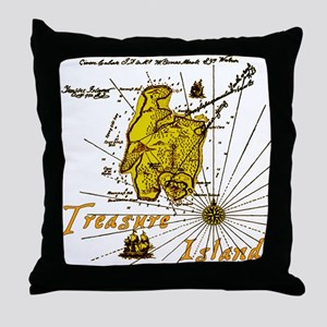 Gold Treasure Island Throw Pillow