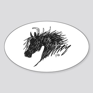 Horse Head Art Oval Sticker