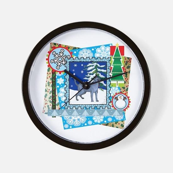 Scrapbook Russian Blue Christmas Wall Clock