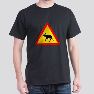Moose Crossing Sign Dark T-Shirt