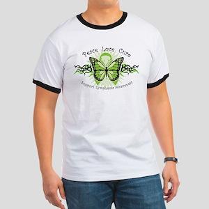 Lymphoma Tribal Butterfly Ringer T