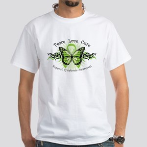 Lymphoma Tribal Butterfly White T-Shirt
