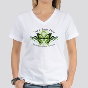 Lymphoma Tribal Butterfly Women's V-Neck T-Shirt