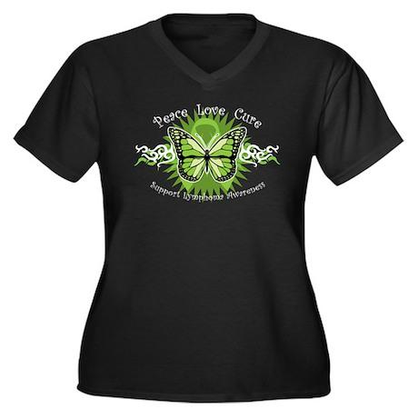 Lymphoma Tribal Butterfly Women's Plus Size V-Neck