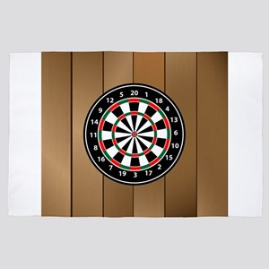 Darts Board On Wooden Background 4' x 6' Rug