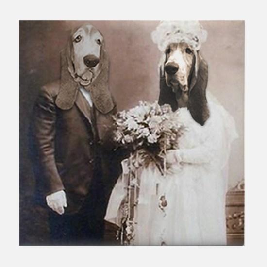 Basset VINTAGE WEDDING Tile Coaster