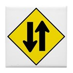 Two-Way Traffic Sign - Tile Coaster