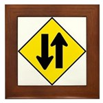Two-Way Traffic Sign - Framed Tile