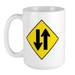 Two-Way Traffic Sign - Large Mug