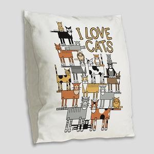 I LOVE CATS Burlap Throw Pillow