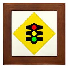 Traffic Light Sign - Framed Tile