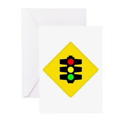 Traffic Light Sign - Greeting Cards (Pk of 10)